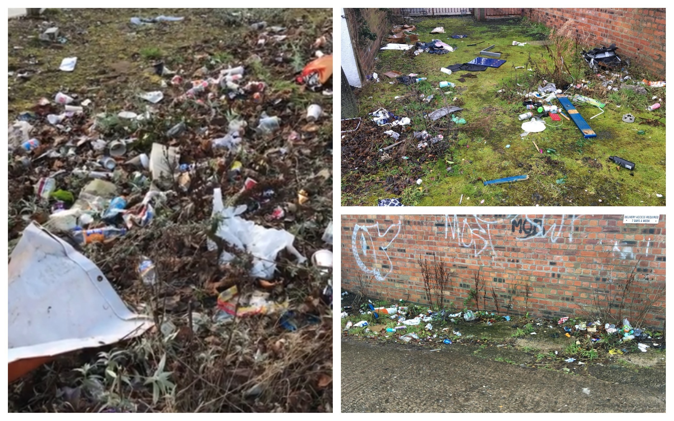 The video showed rubbish on Lochee High Street (left) and right, more elsewhere on the route
