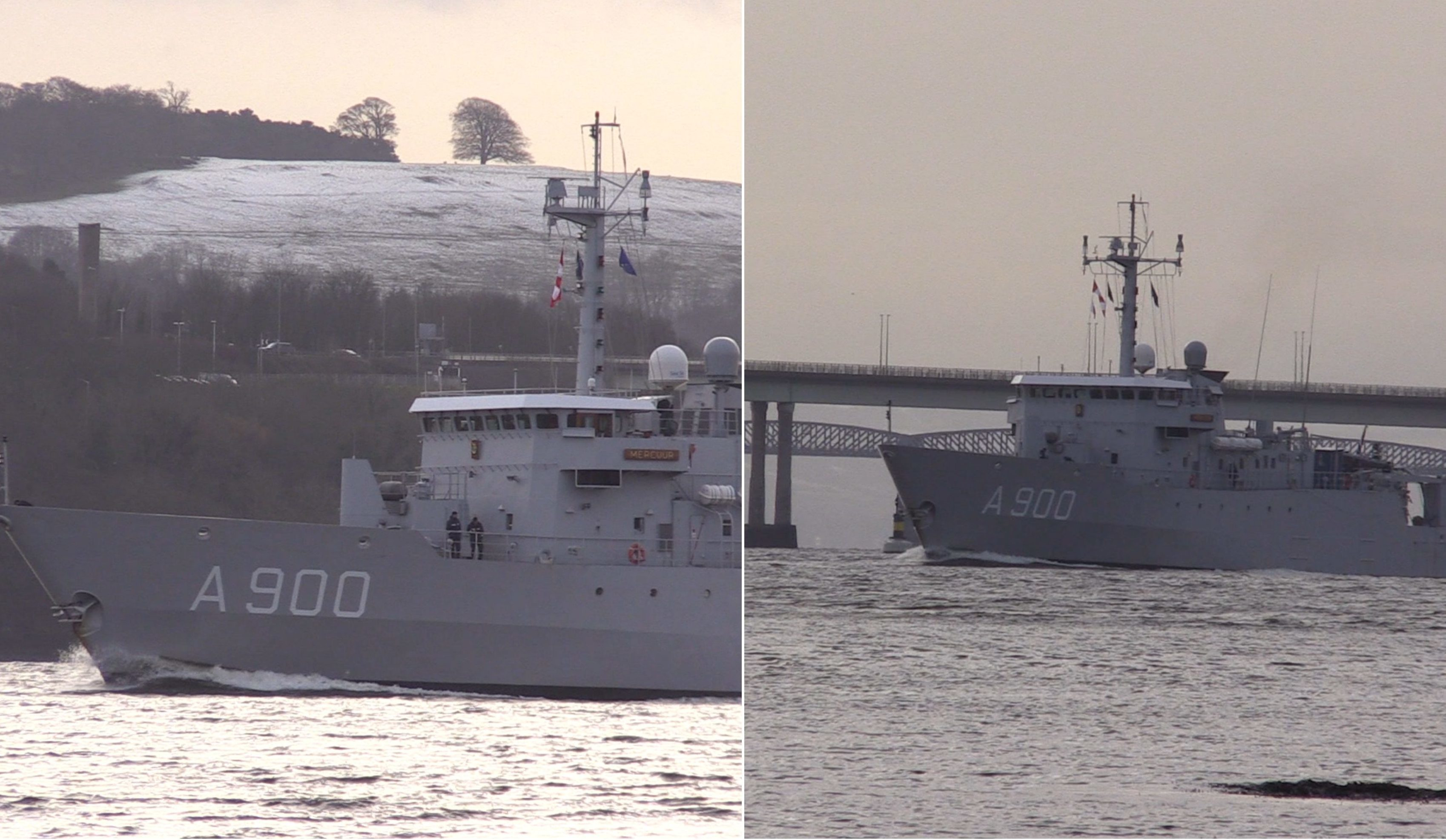 The HNLMS Mercuur departs Dundee