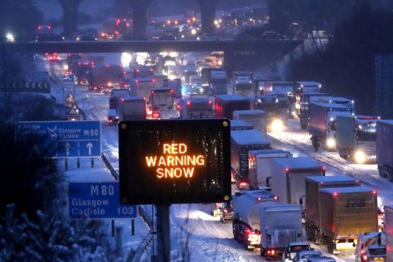 Gridlock on the M80 near Glasgow.