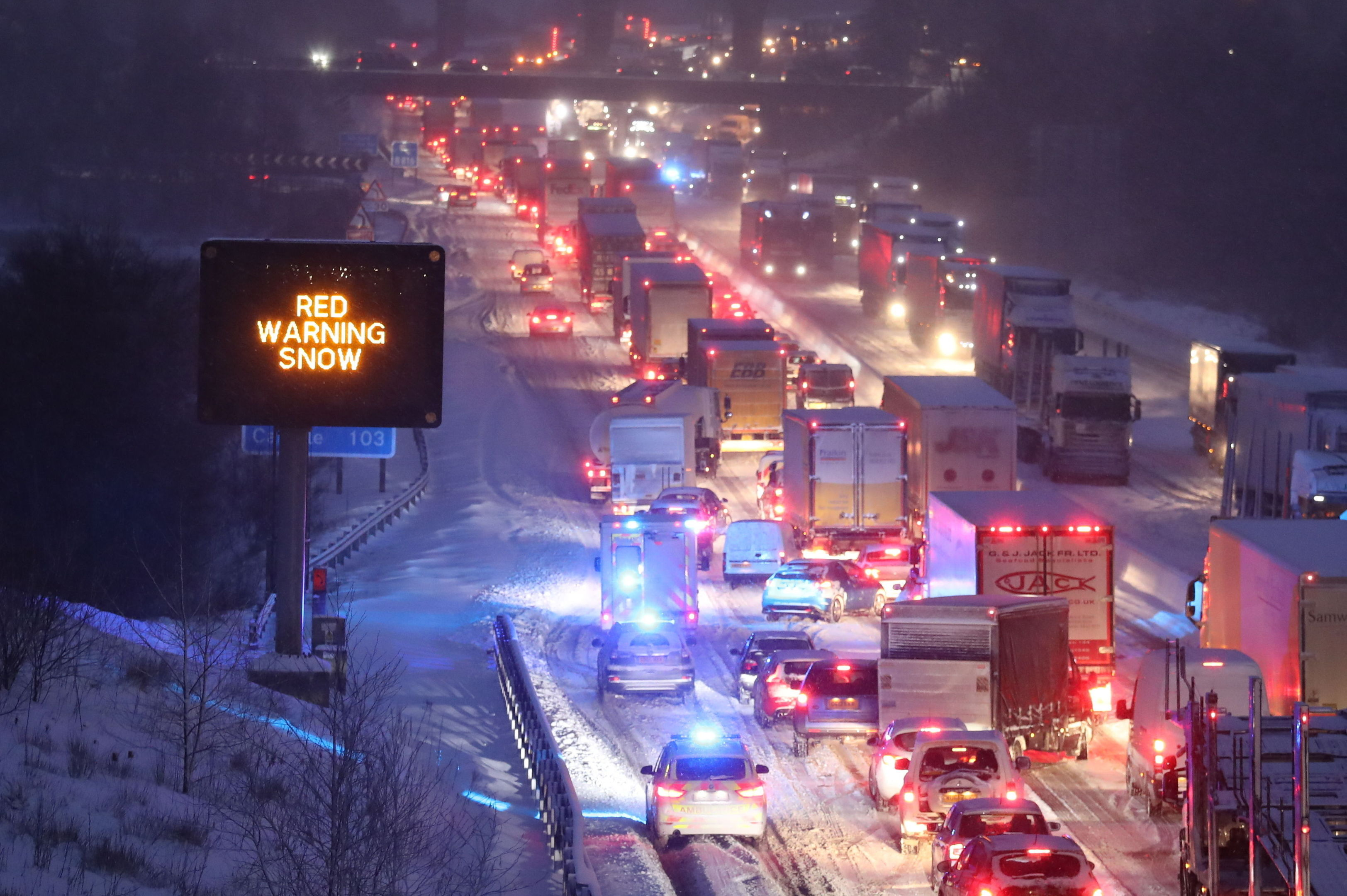 Vehicles were stranded on the M80 on Wednesday.
