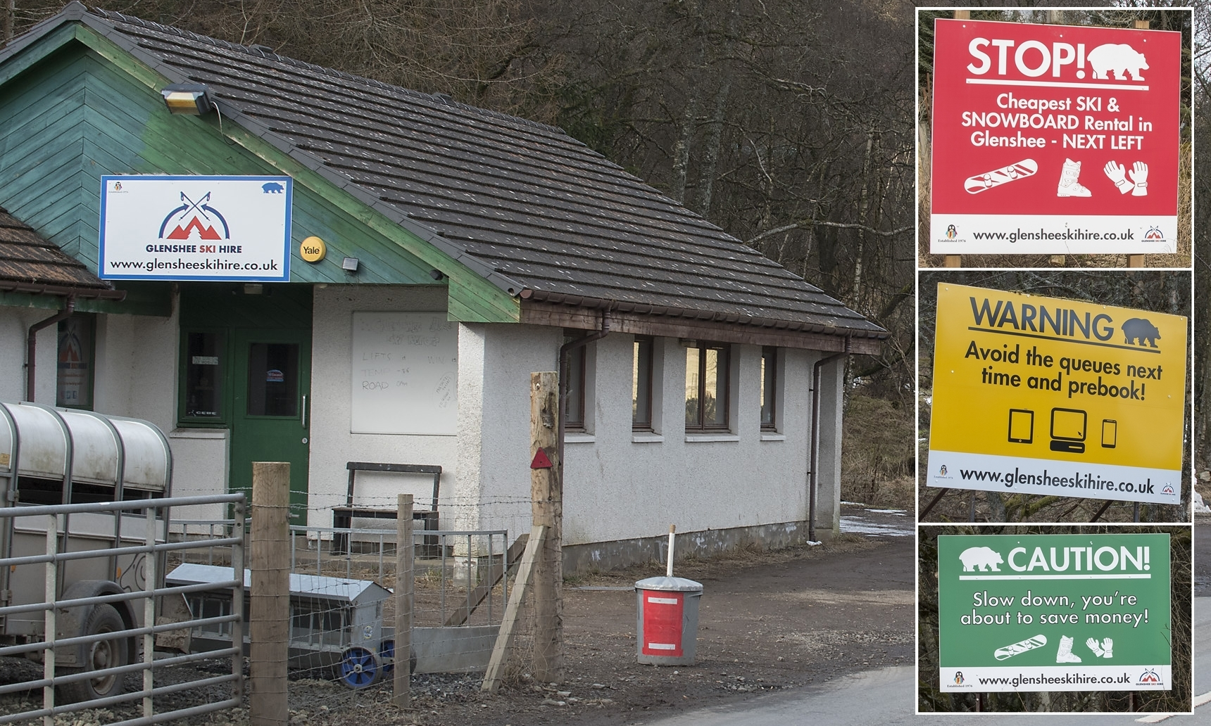 The ski hire shop and (inset right) the three billboards.