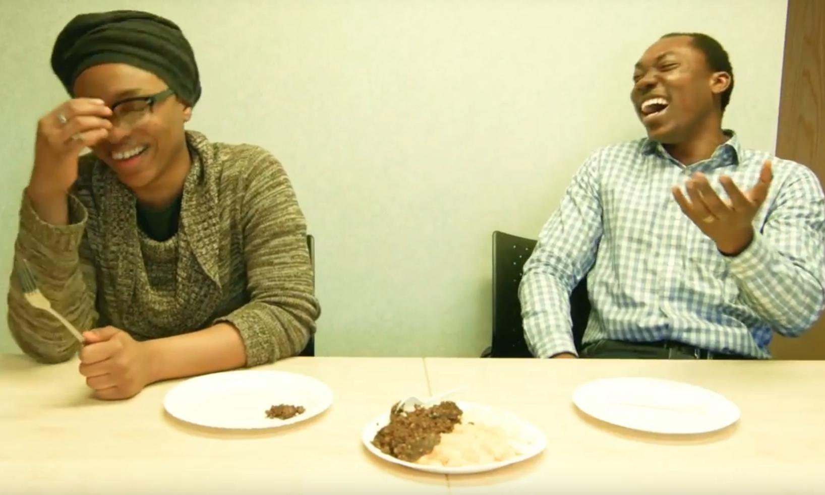 Sorochi Paul and Caleb Eke face up to the haggis challenge.