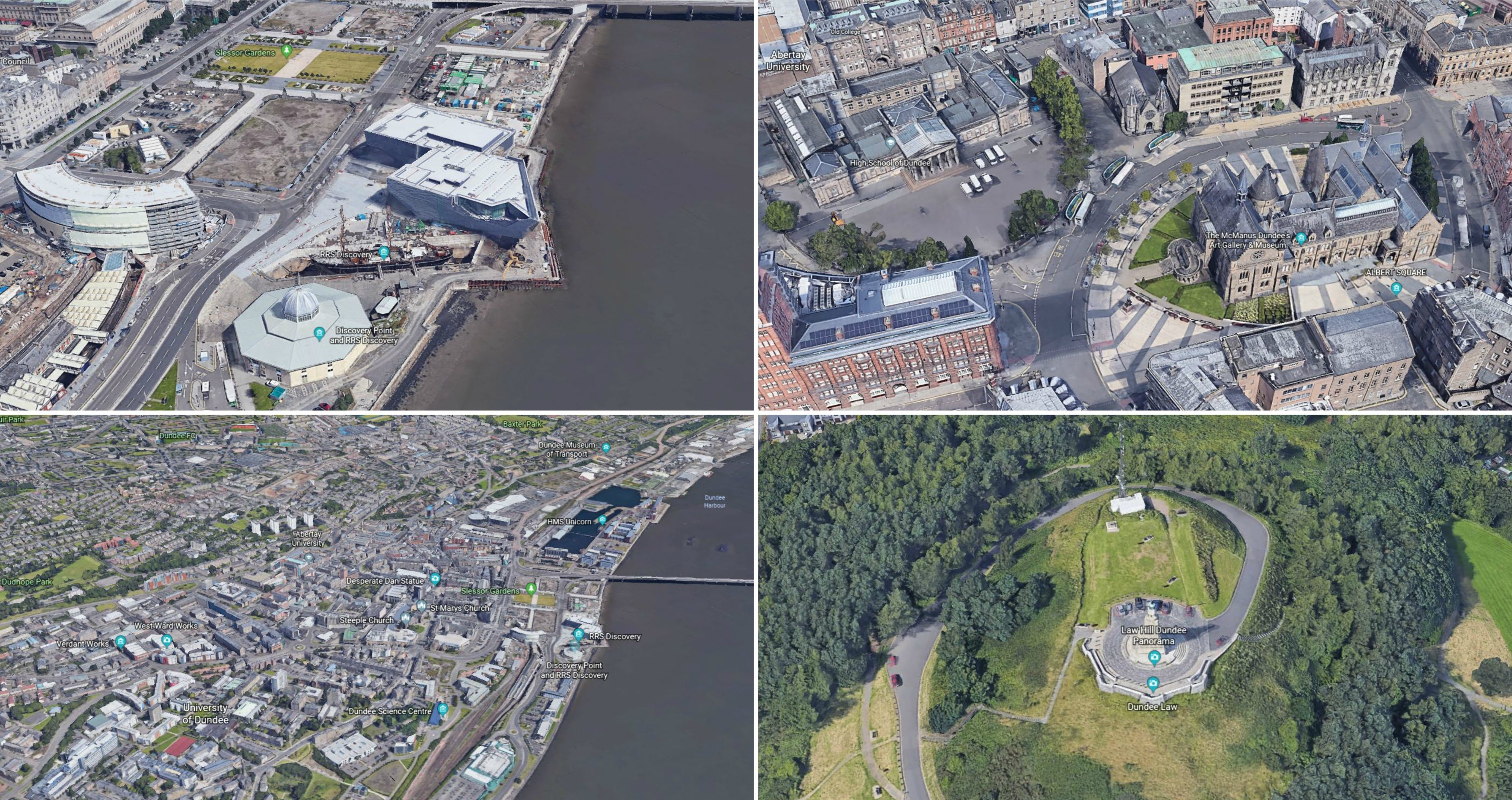 How Dundee looks on Google Earth in 3D.
