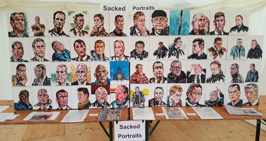 52 managers were featured in the Sacked Portraits collection