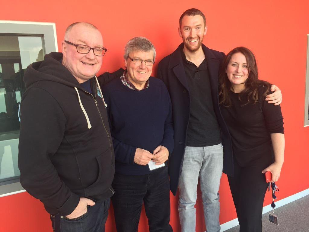 Pictured during his visit to BBC Off the Ball from left) Stuart Cosgrove presenter), Michael White Sporting Memories Project), Fraser MacDonald artist) and Annie McGuire presenter)