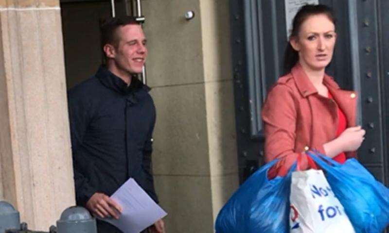 Frank Watt and Cheryl Johnstone leaving Dundee Sheriff Court in February