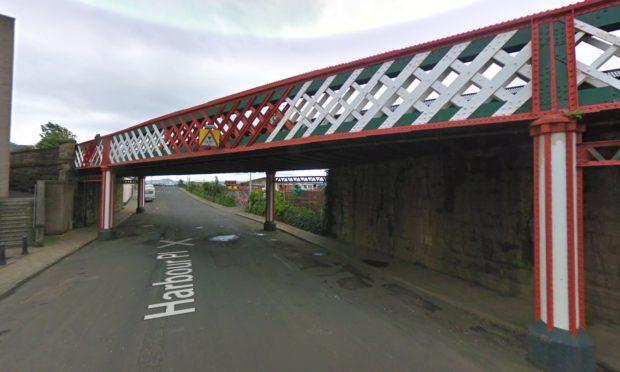 The rail bridge over Harbour Place in Burntisland.