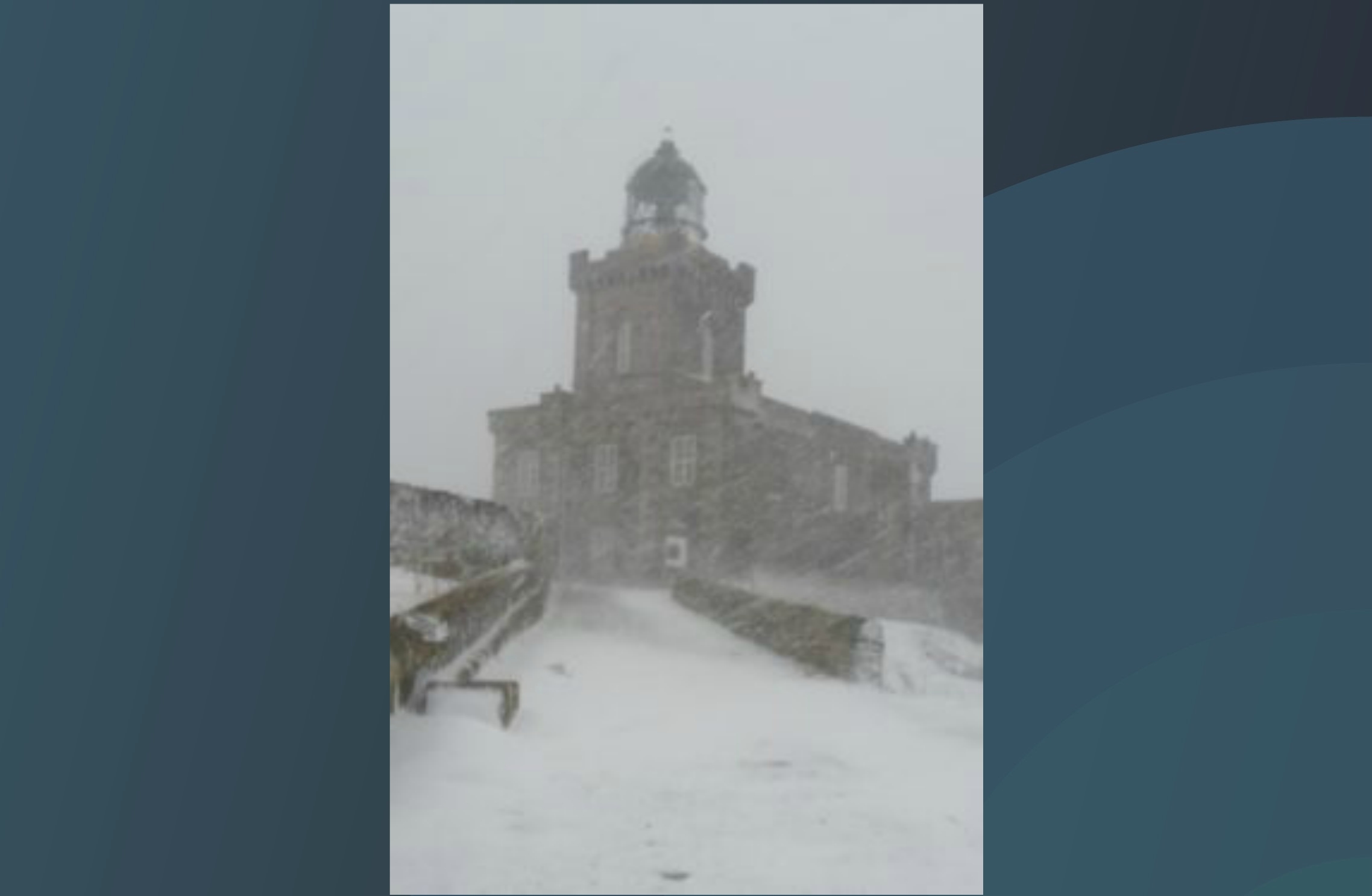 A rare picture of the Isle of May's lighthouse amidst a blizzard as the storm set in on Tuesday