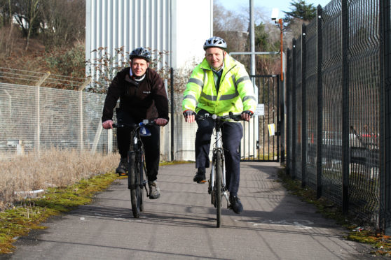 Councillor Kevin Cordell and sustainable transport team leader John Berry on the cycle route.