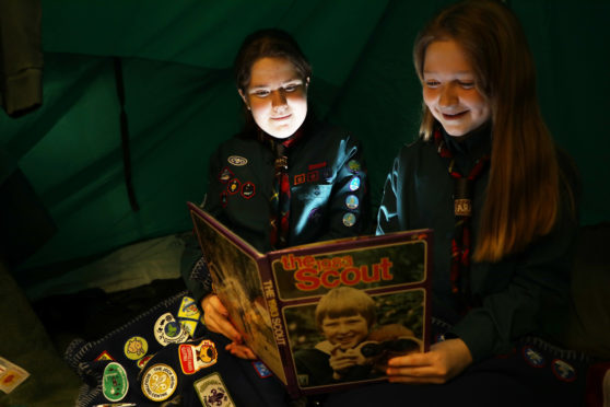 3rd Forfar Scouts Amy and Sara Tyrie, 13 and 10, at the exhibition.