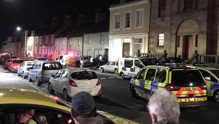 Armed police rushed to the incident in Newburgh High Street.