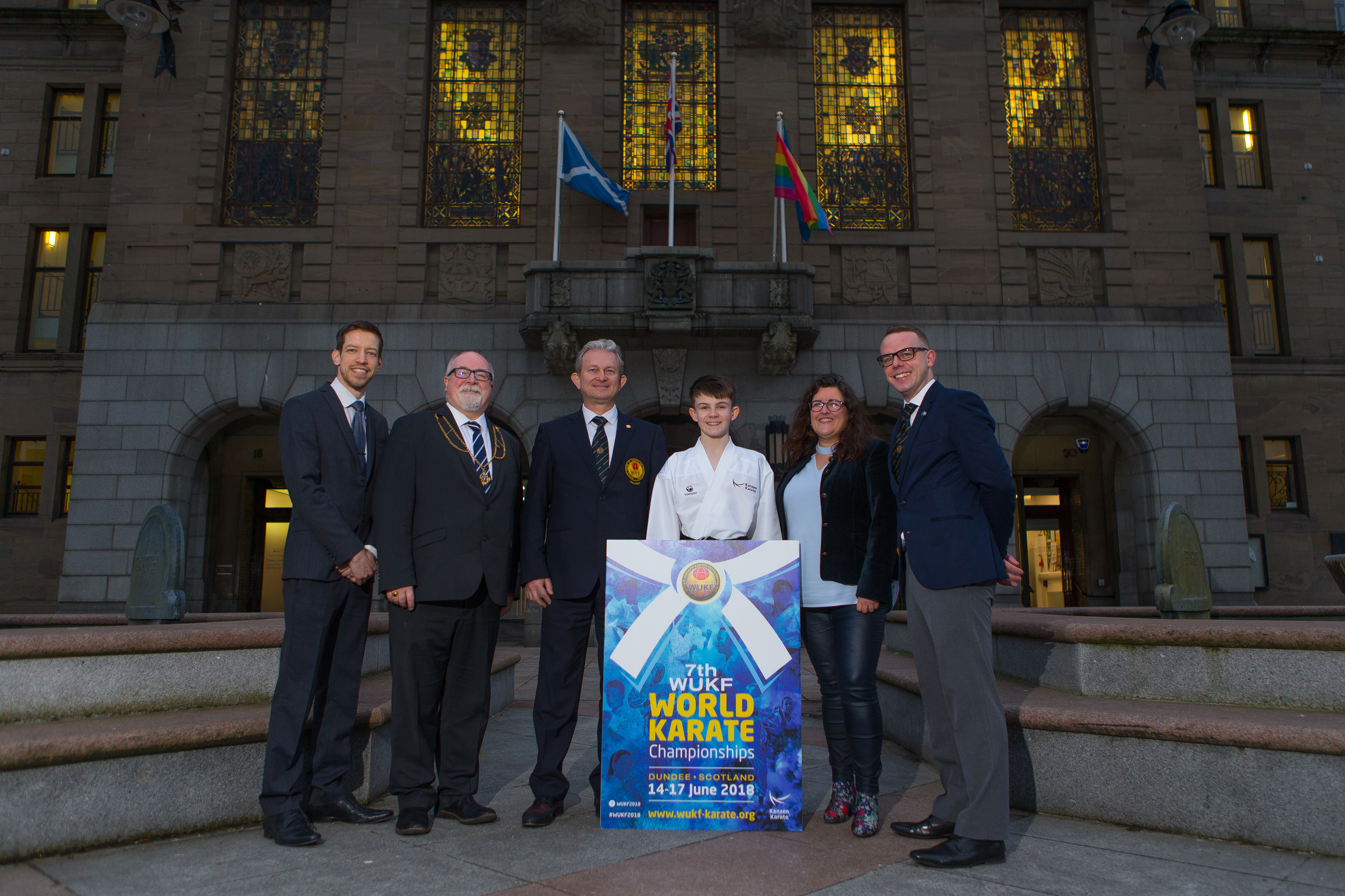 (Left) Cllr John Alexander, Depute Provost Bill Campbell, Dr Liviu Crisan (President of the World Union of Karate Federations), Oliver Bruce, Cllr Lynne Short and Roy O'Kane (WUKF Dundee 2018 Organising Committee Chair)
