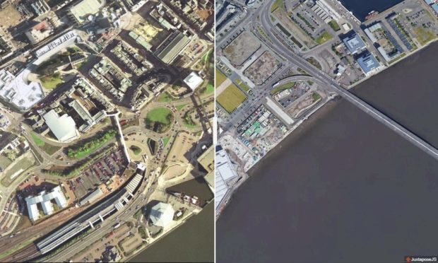 The waterfront in 2001 (left) and 2017 (right).