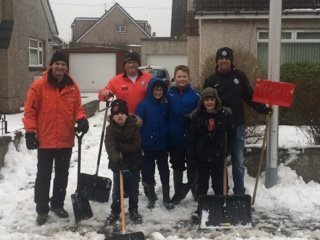 Lads from Broughty United help out in the aftermath of the beast from the east.
