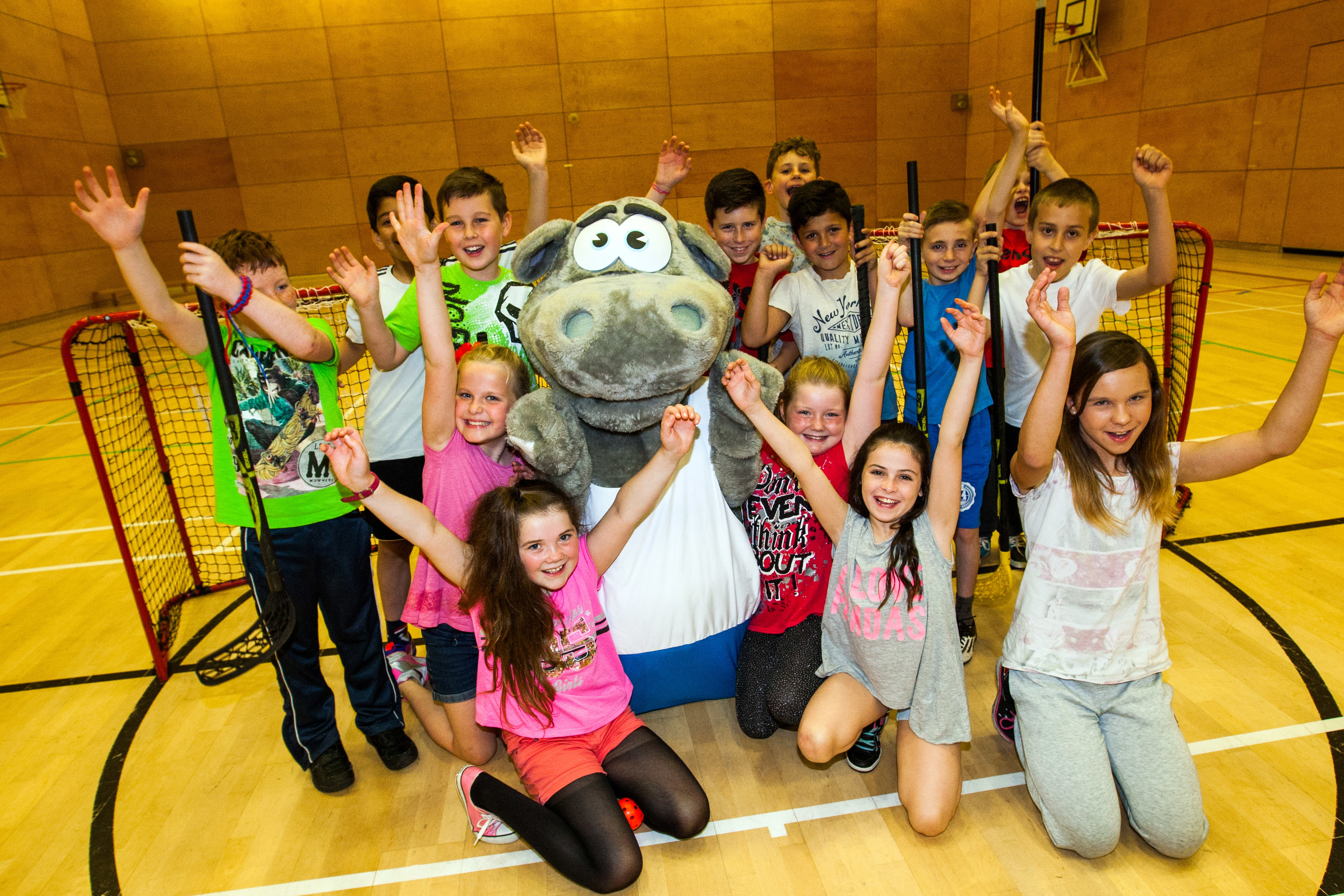 Primary children from Kirkcaldy North Primary School were trying out their hockey skills alongside mascot 'Archie' the Hippo on the 2nd anniversary of Kirkcaldy Leisure Centre's opening. But the sports hall has now come under the spotlight over the choice of flooring chosen.
