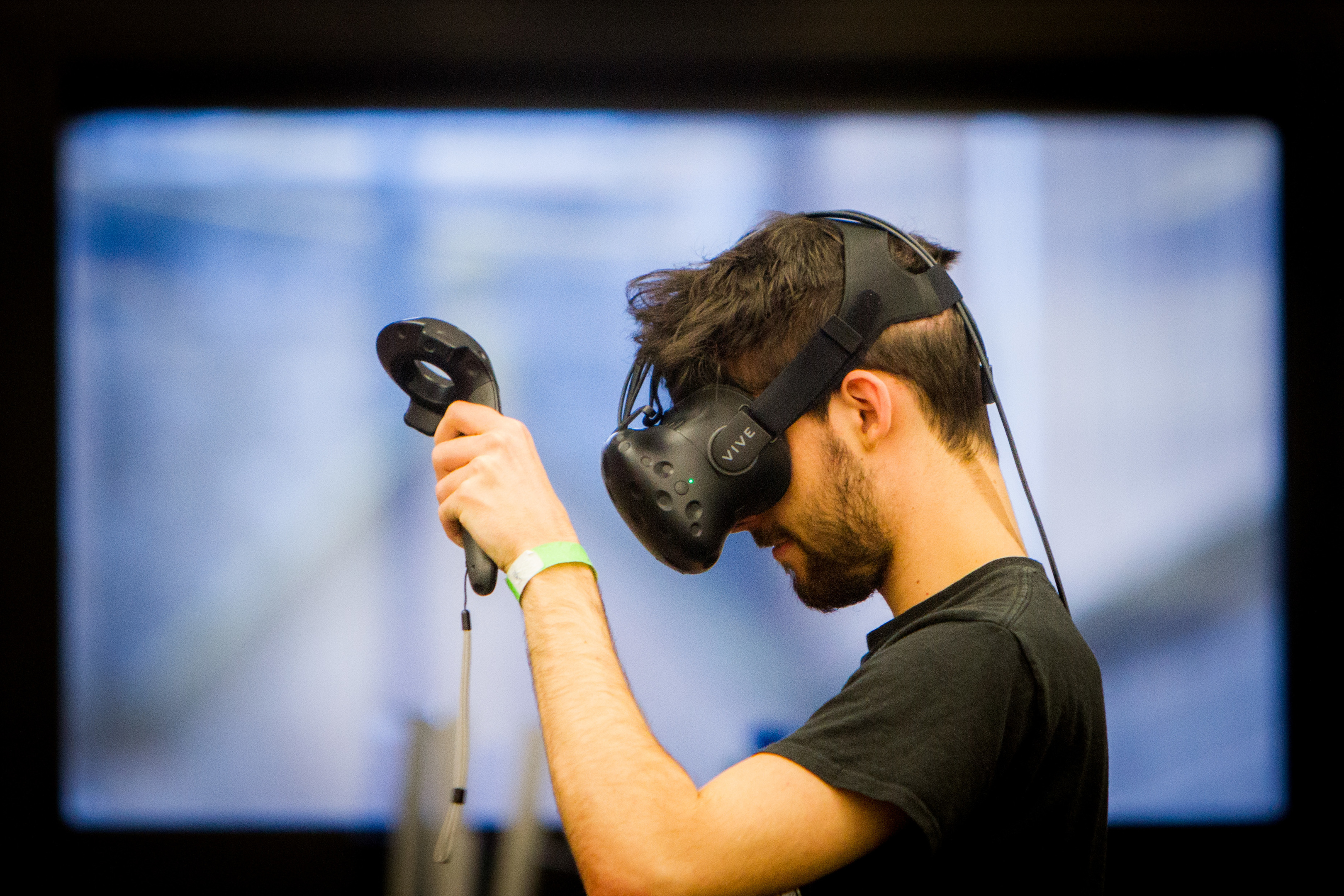 Abertay student Aaron Cameron playing a Virtual Reality game called Think Tank he helped develop at the Games Jam at Abertay University last year.
