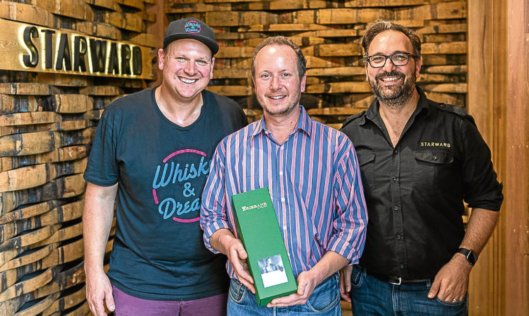 Ben Baranow, organiser of the Whisky and Dreams festival, Alex Bruce of Fife-based Adelphi, and David Vitale of Starward Distillery, with The Brisbane whisky.
