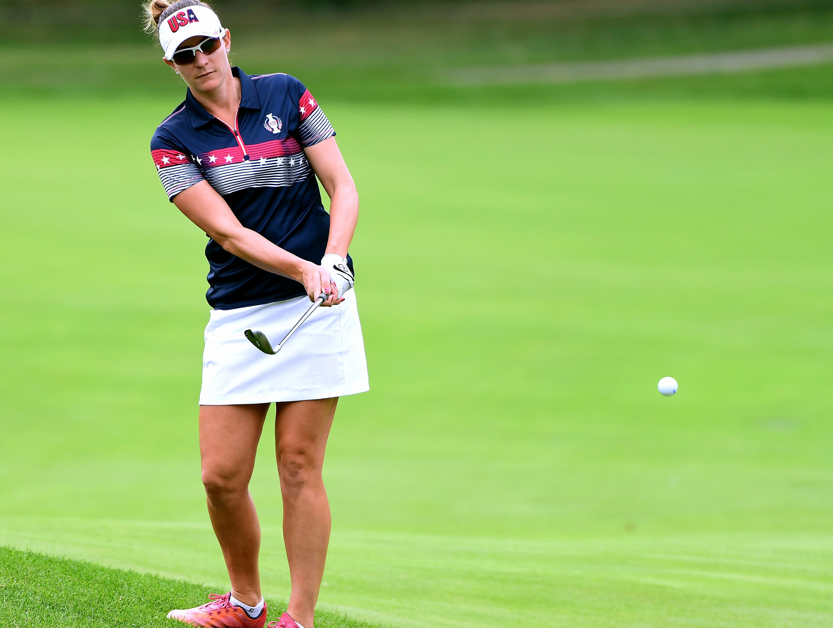 Brittany Lang of Team USA at the 2017 Solheim Cup in America.