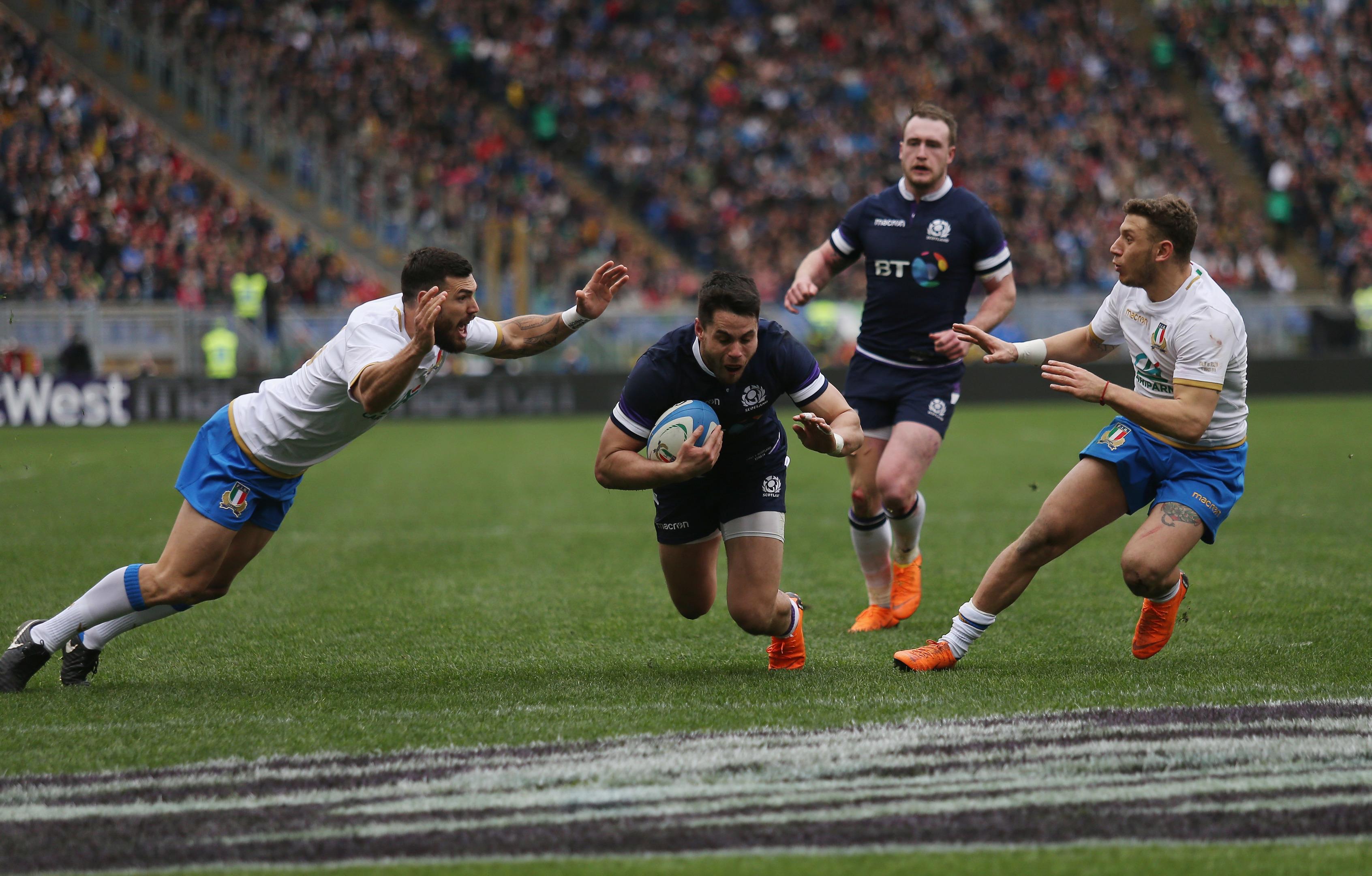 Sean Maitland scores to launch Scotland's comeback in Rome.