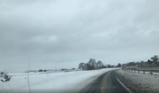 The snow is encroaching on the A90.