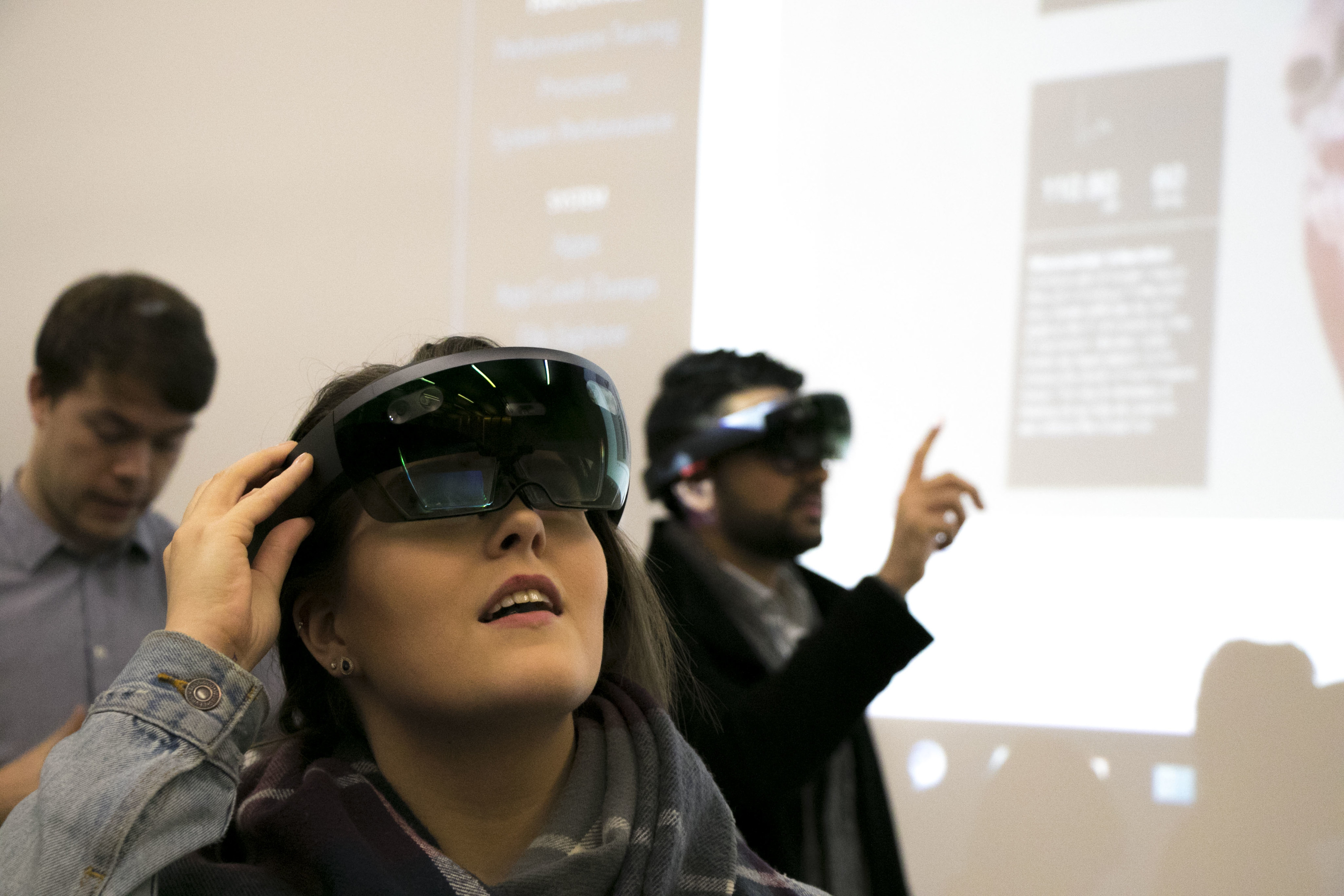 A student uses augmented reality for the first time