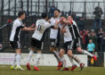 Declan McDaid was one of those celebrating as Ayr defeated Raith 3-0 in the league on Saturday.