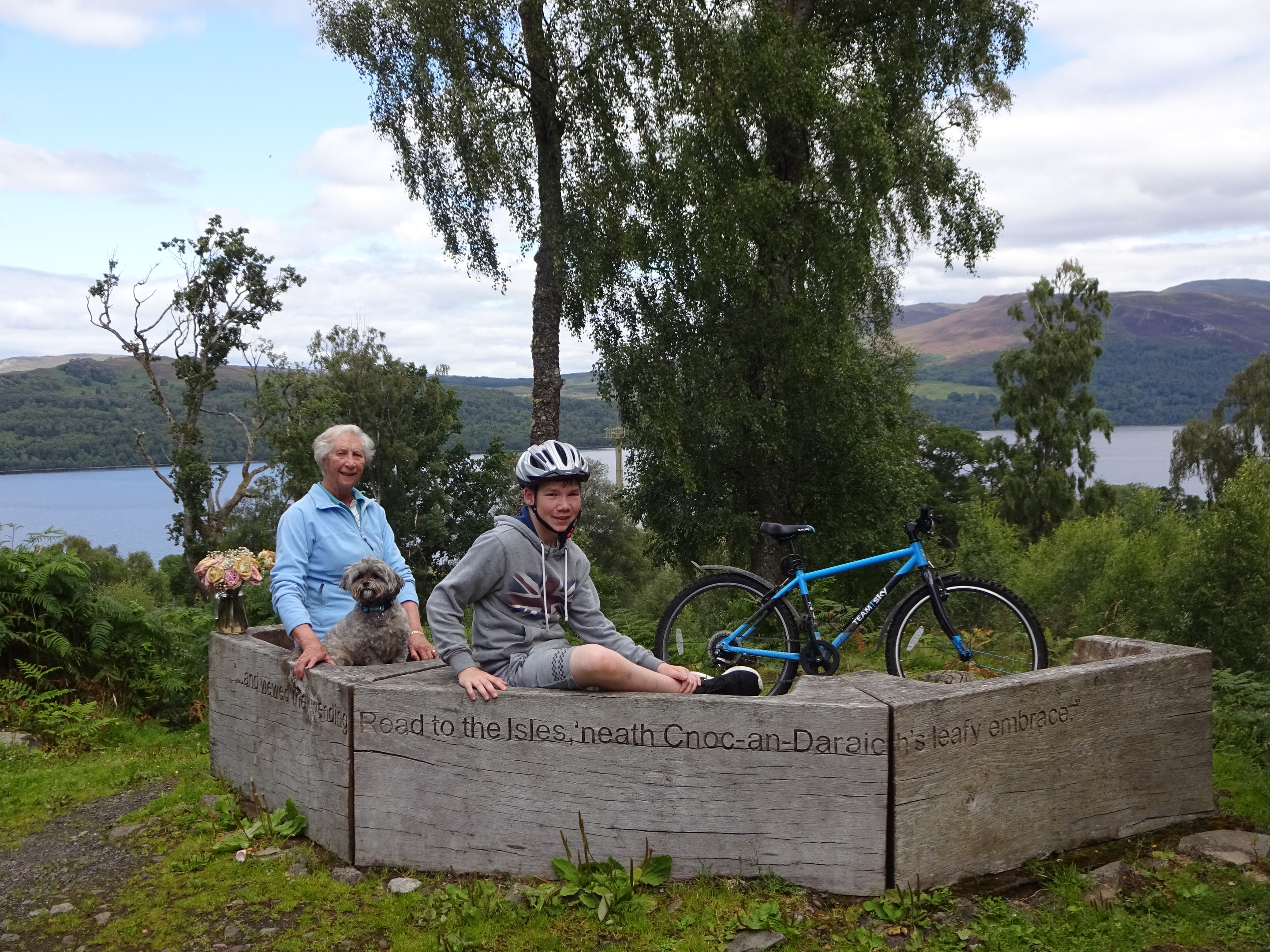 Harry on a trip to Kinloch Rannoch with his bike and family.