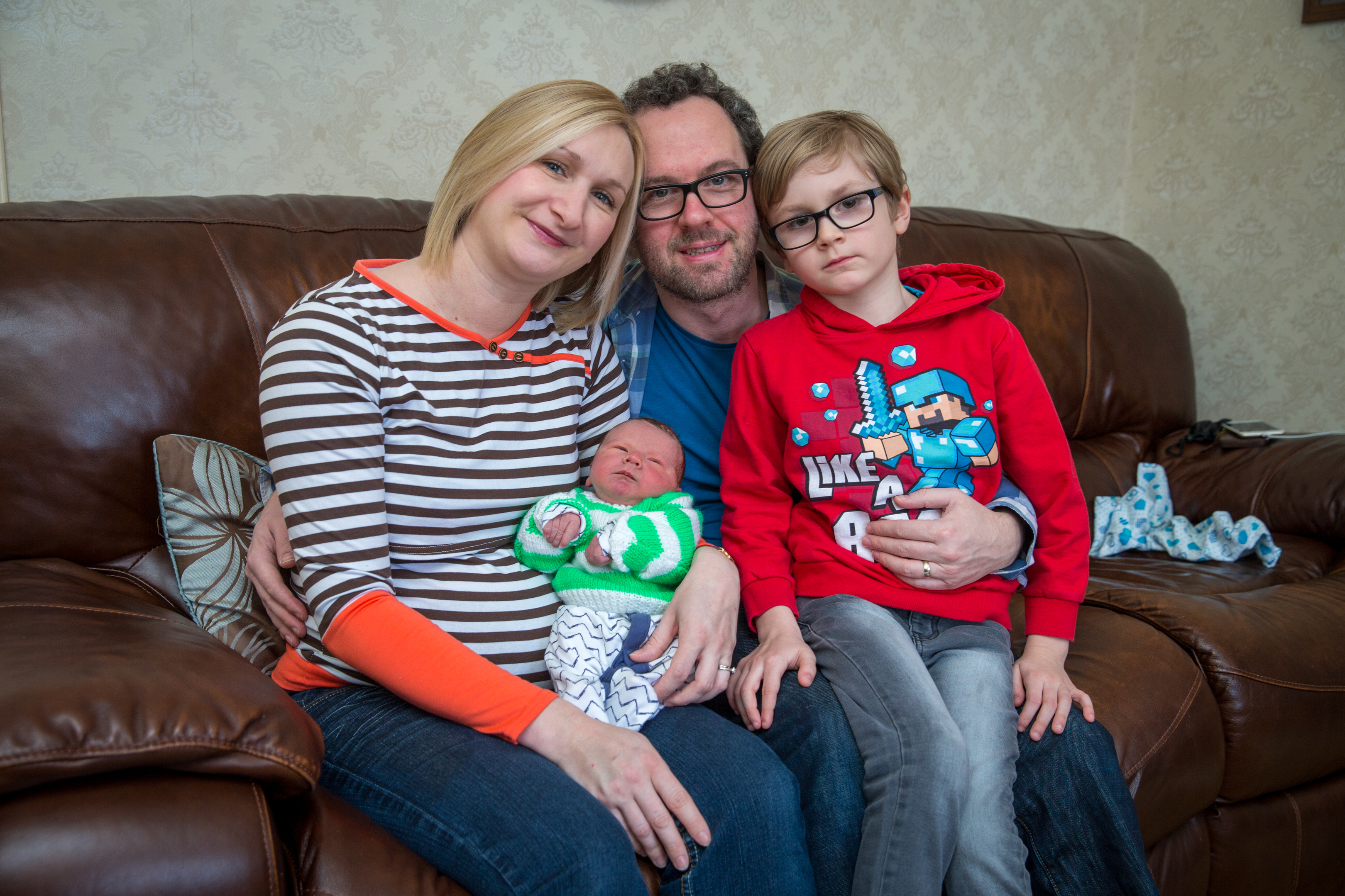 Alison Mooney with husband Frank, son Zak and baby Gabriel.