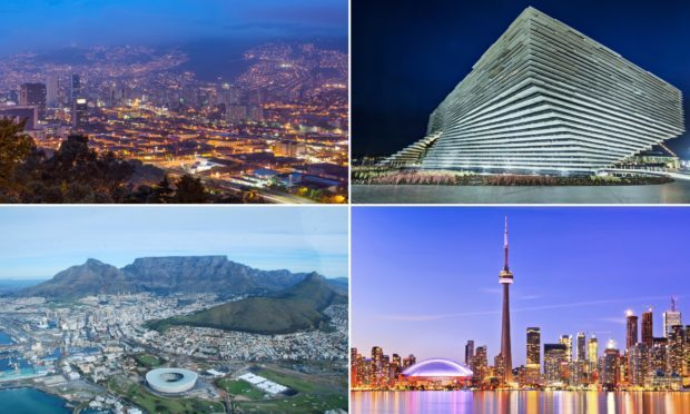Medellin (top left), V&A Dundee (top right, Cape Town (bottom left) and Toronto (bottom right).