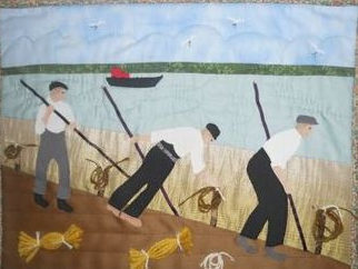 Dutch dyke builders on the River Tay by Norma Hill.