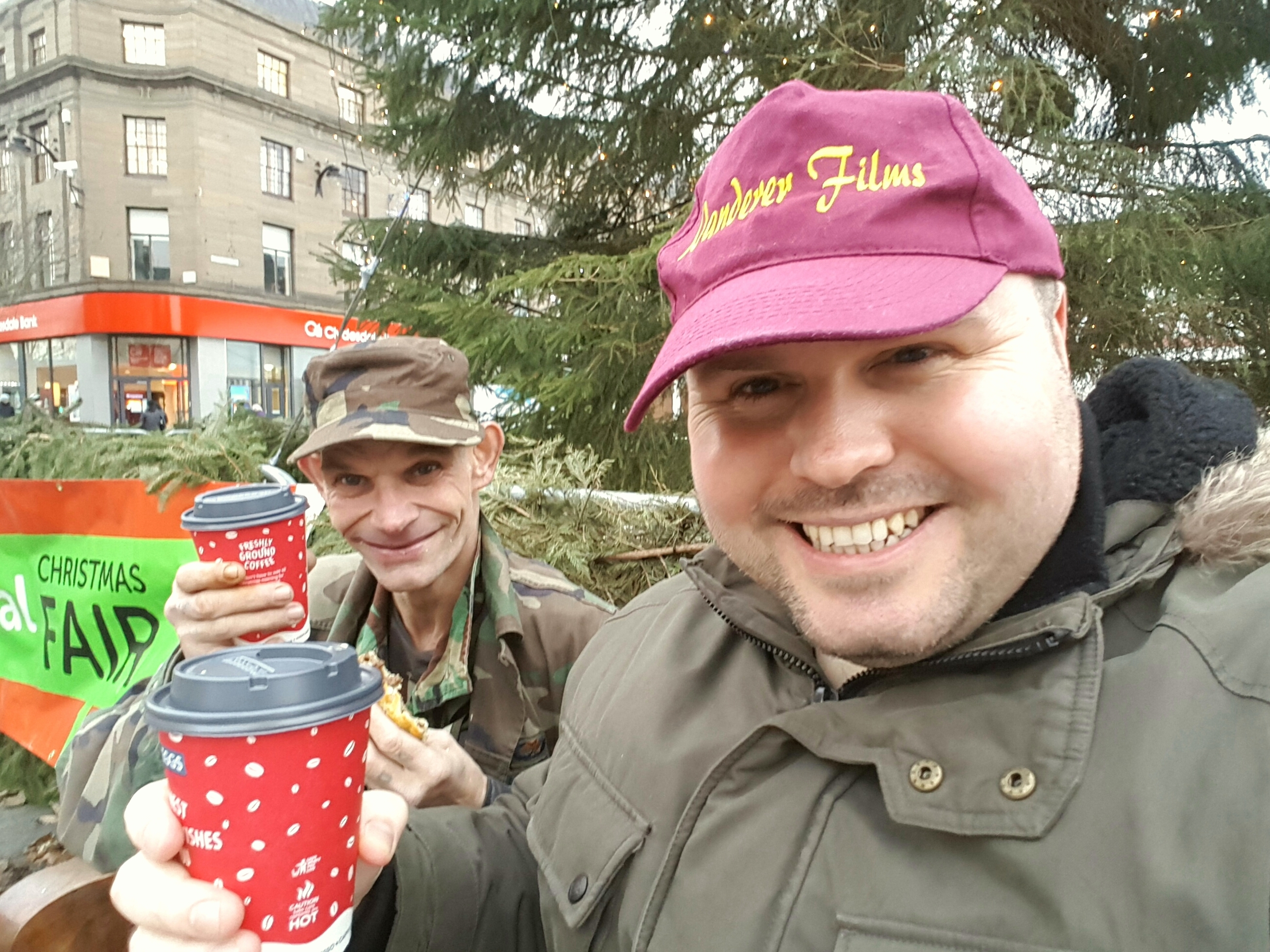 Documentary maker Greig Stott with Dundee busker Fast Eddie.
