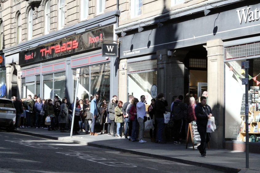 The queue outside Waterstones in Dundee