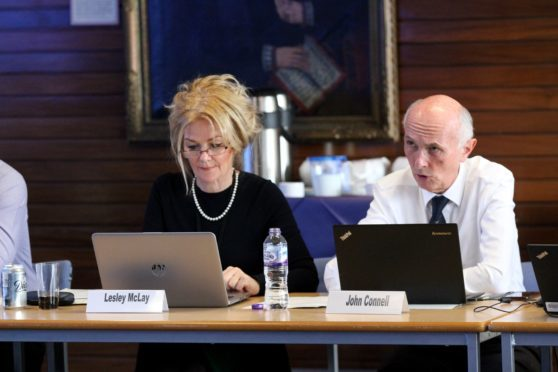 NHS Tayside chief executive Lesley McLay and chairman John Connell.