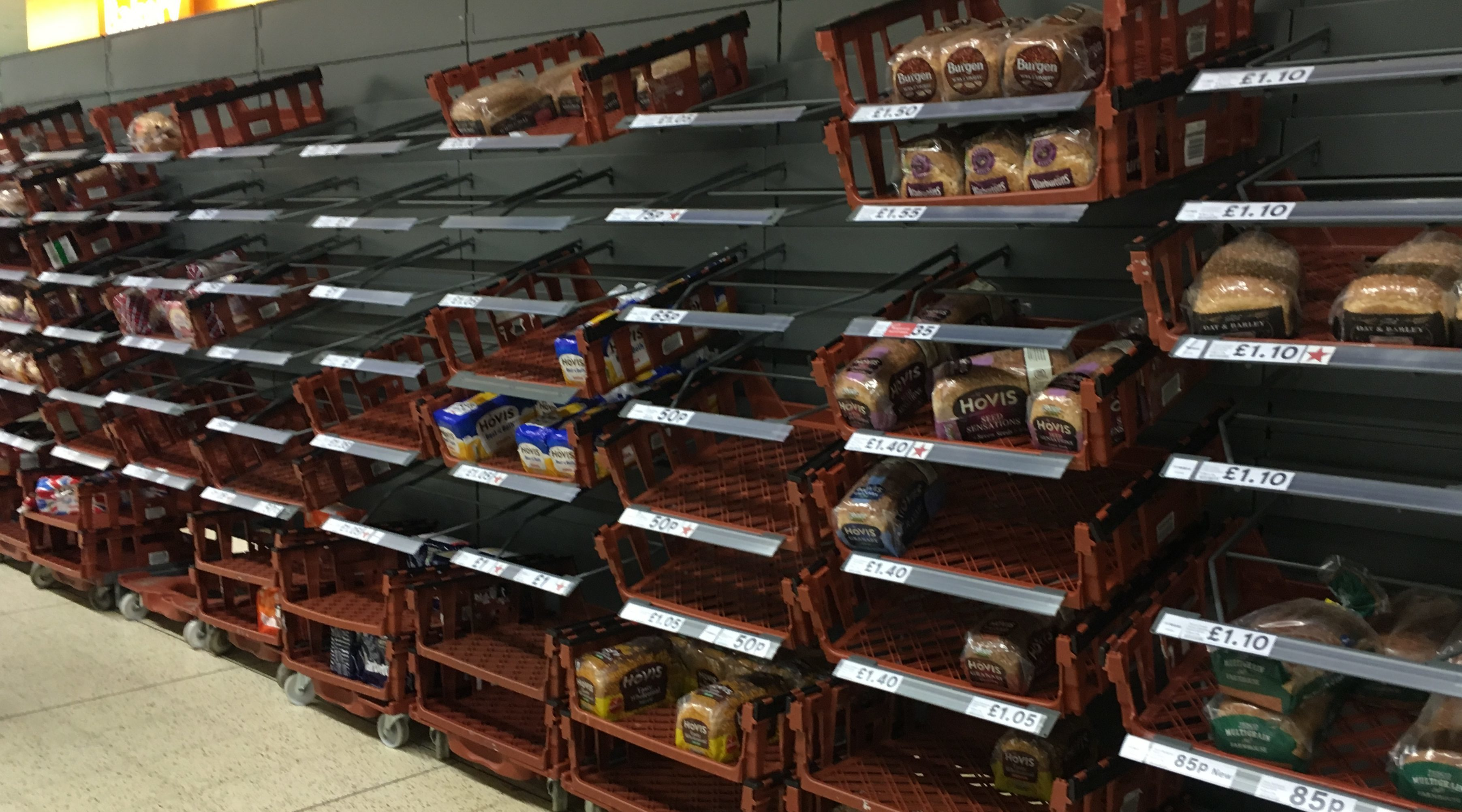 Short supplies of bread in Tesco, Perth city centre