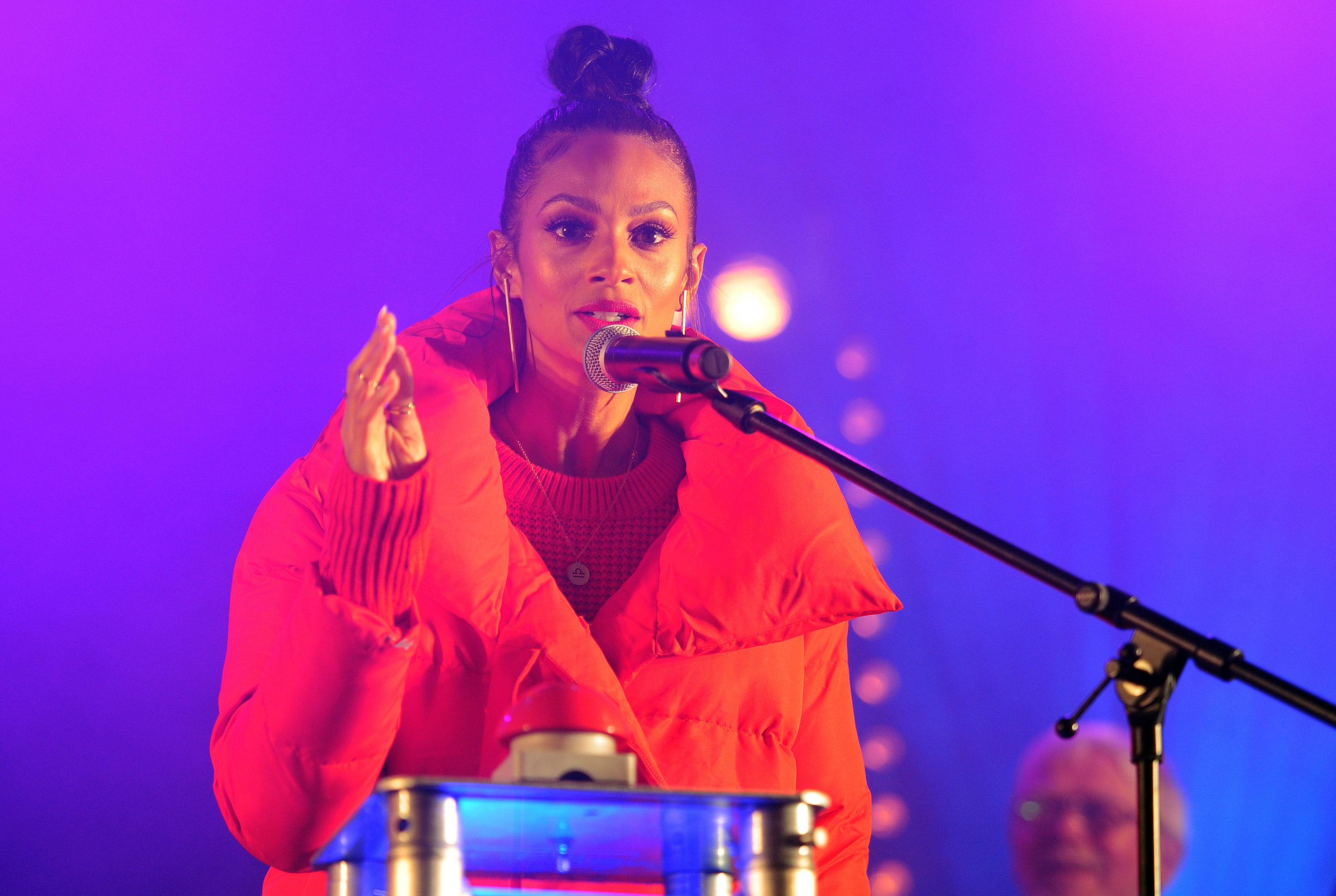 Alesha Dixon at the Perth Christmas lights switch-on in 2017.
