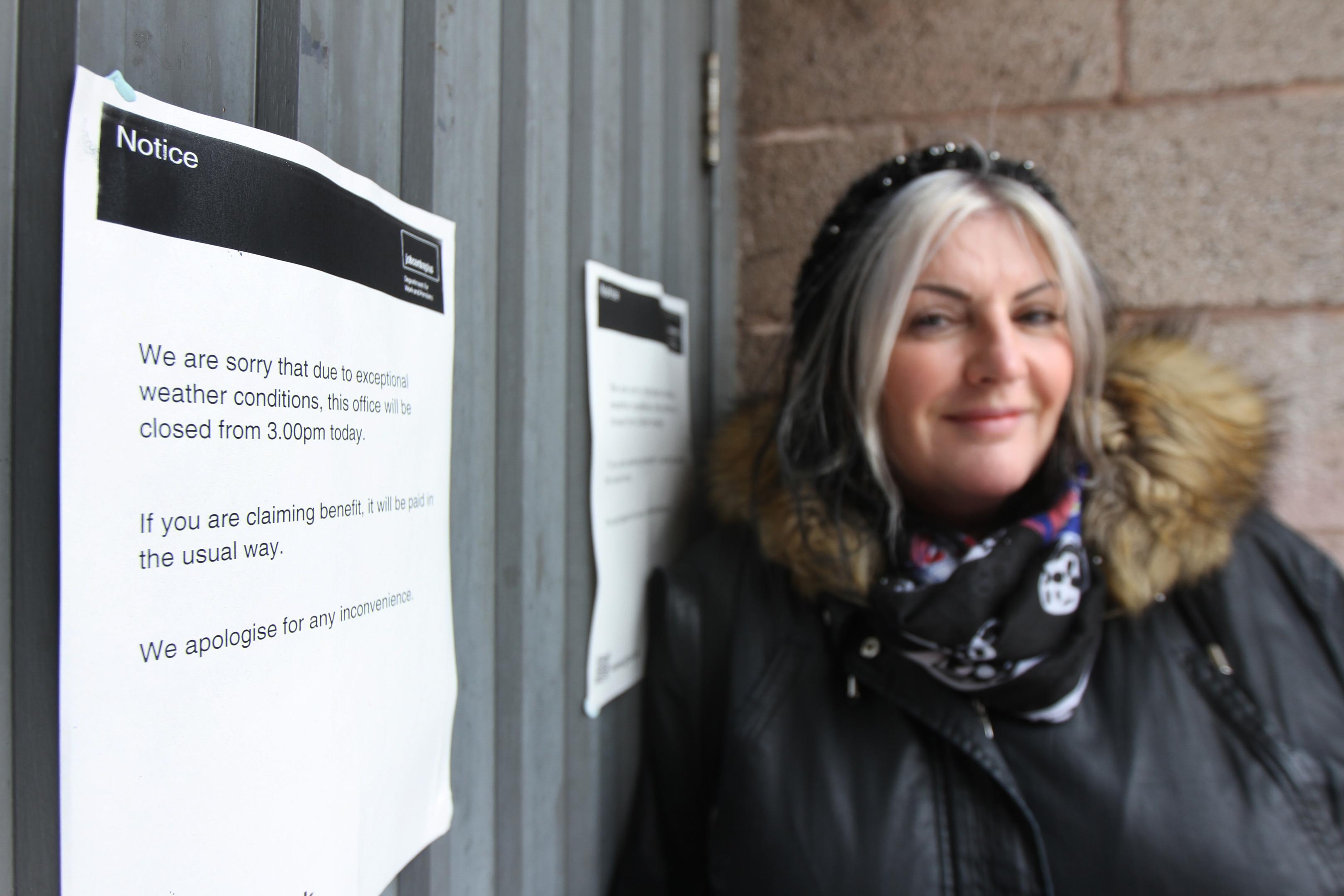 Lyn Lamond outside the JobCentre..
