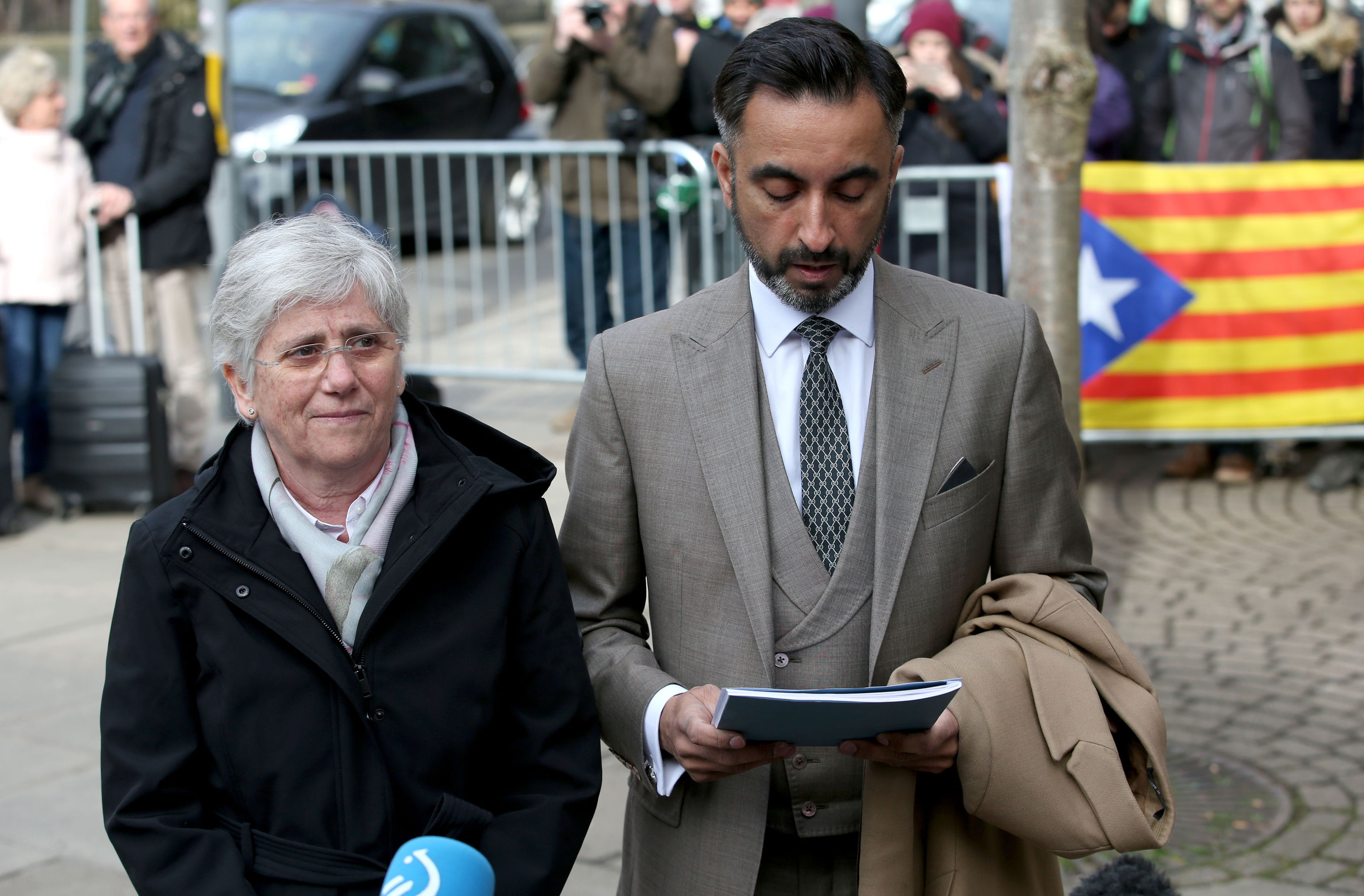 Former Catalan Minister Professor Clara Ponsati who is facing extradition to Spain attends Edinburgh police station with her lawyer Aamer Anwar.