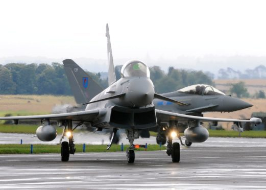 An RAF Typhoon at its former home in Leuchars