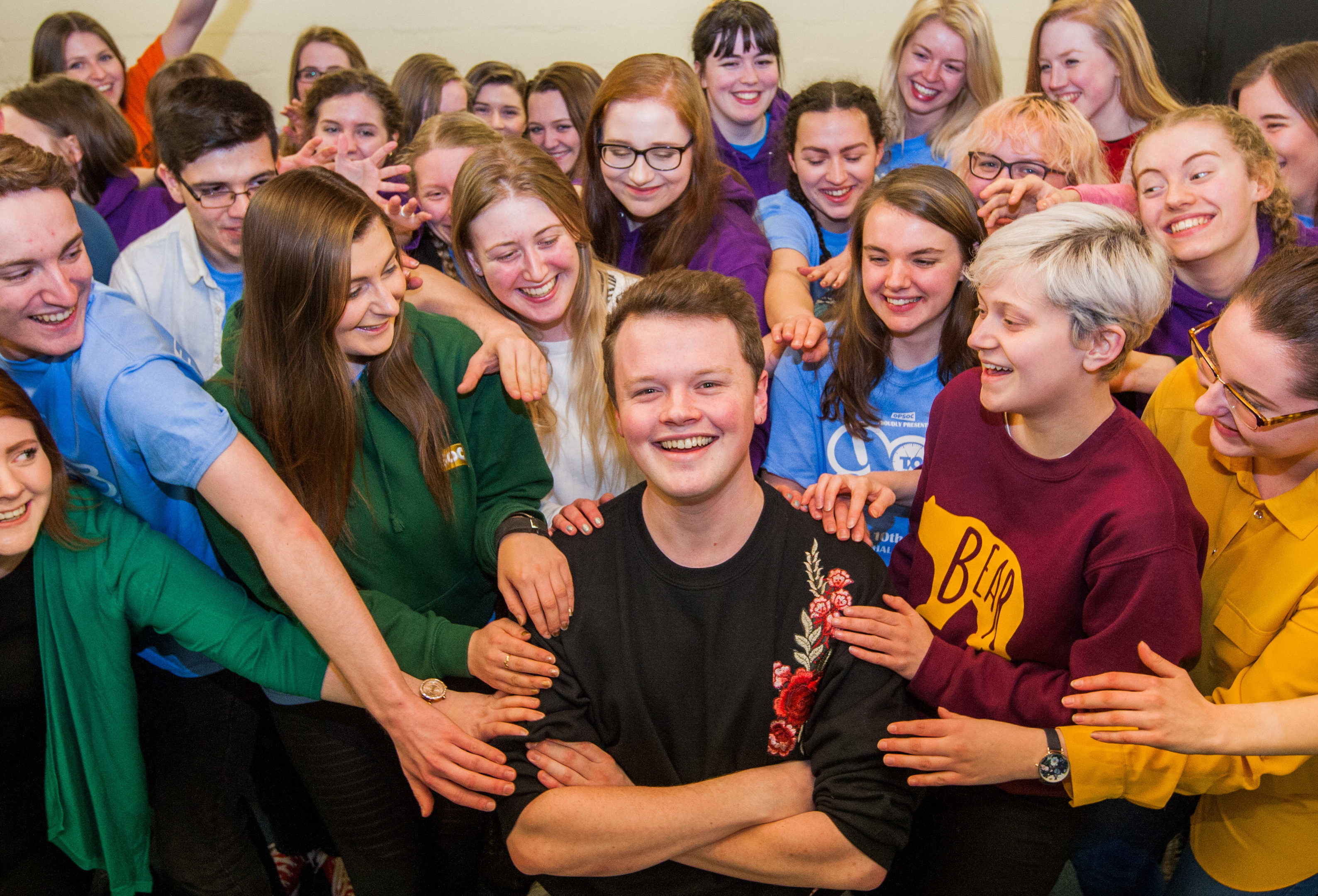 Neil Lavin, a fourth year student at Duncan of Jordanstone College of Art and Design who is also director of Dundee University Amateur Operatic Society. Picture shows Neil Lavin (Director) in the centre surrounded by members