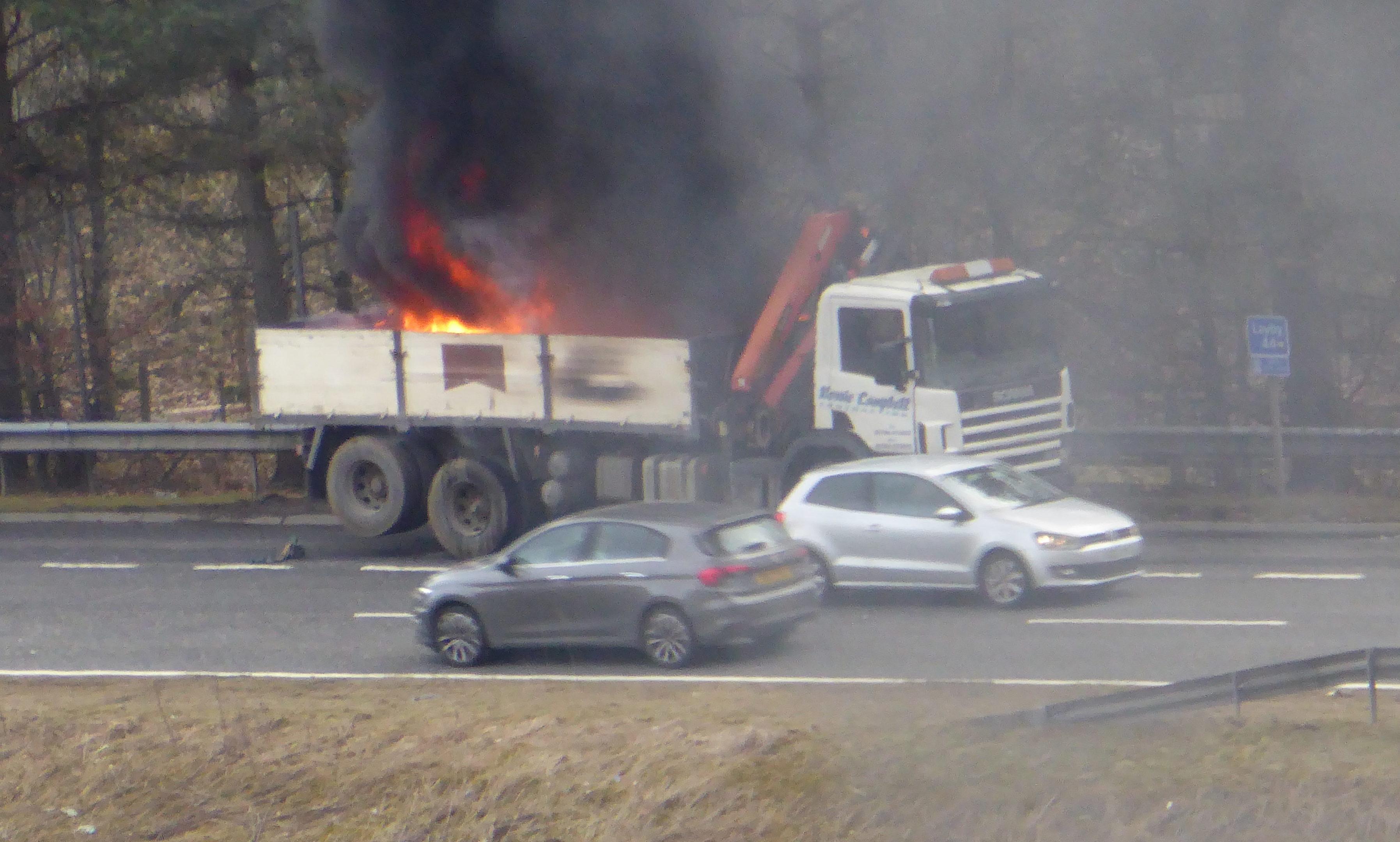 Lorry fire on the A9 near Blair Atholl