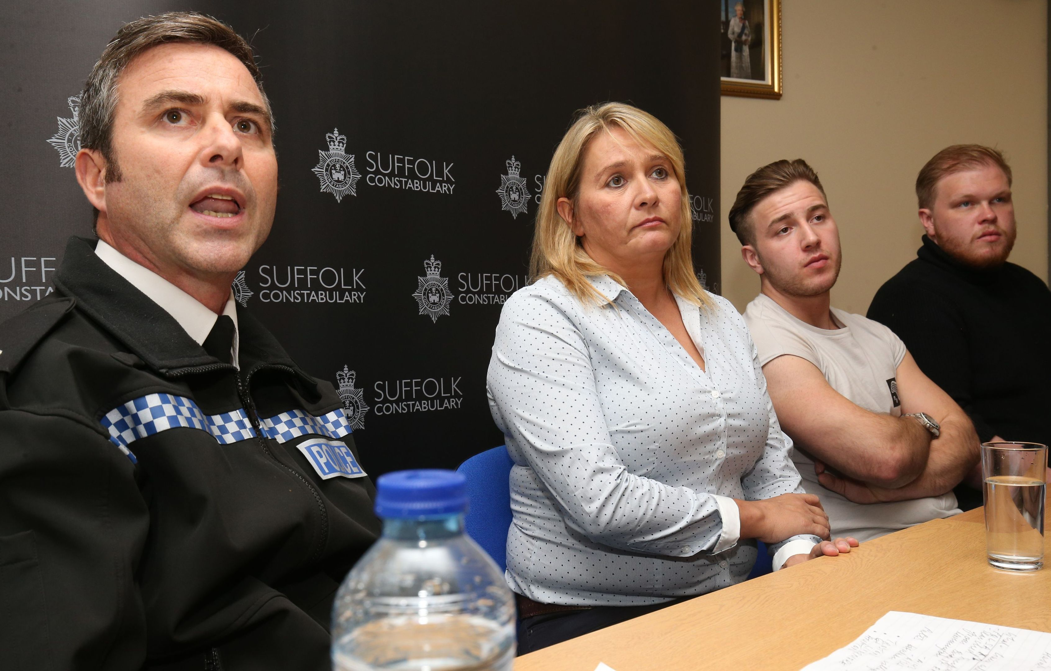 (left to right) Acting Chief Superintendent Kim Warner of Suffolk Police speaks alongside mother of missing 23-year-old Corrie McKeague, Nicola Urquhart and his brothers Darroch and Makeyan McKeague, during a press conference  at Bury St Edmunds Police Station in Suffolk.