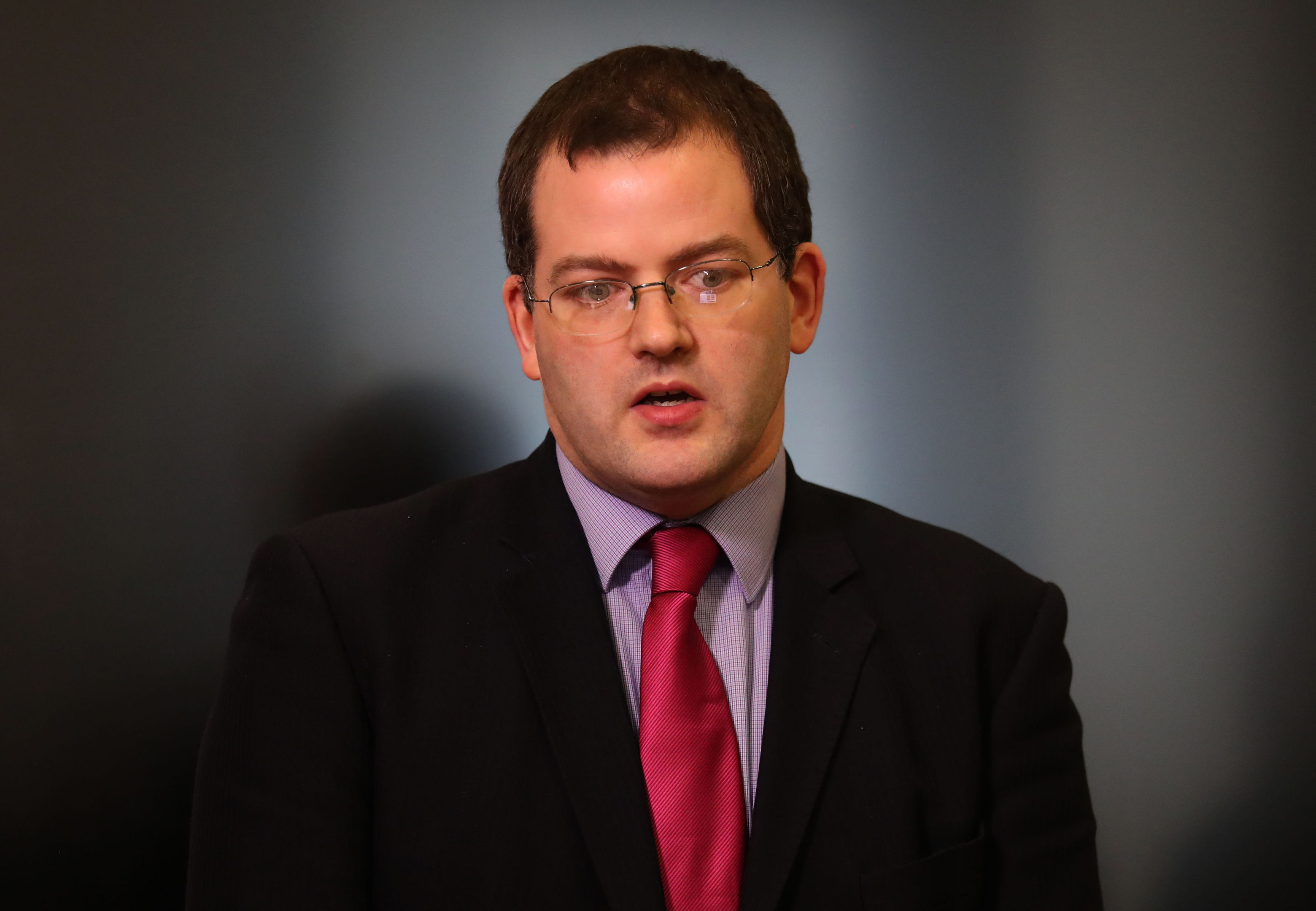Mark McDonald makes a statement to the media on his return to the Scottish Parliament.