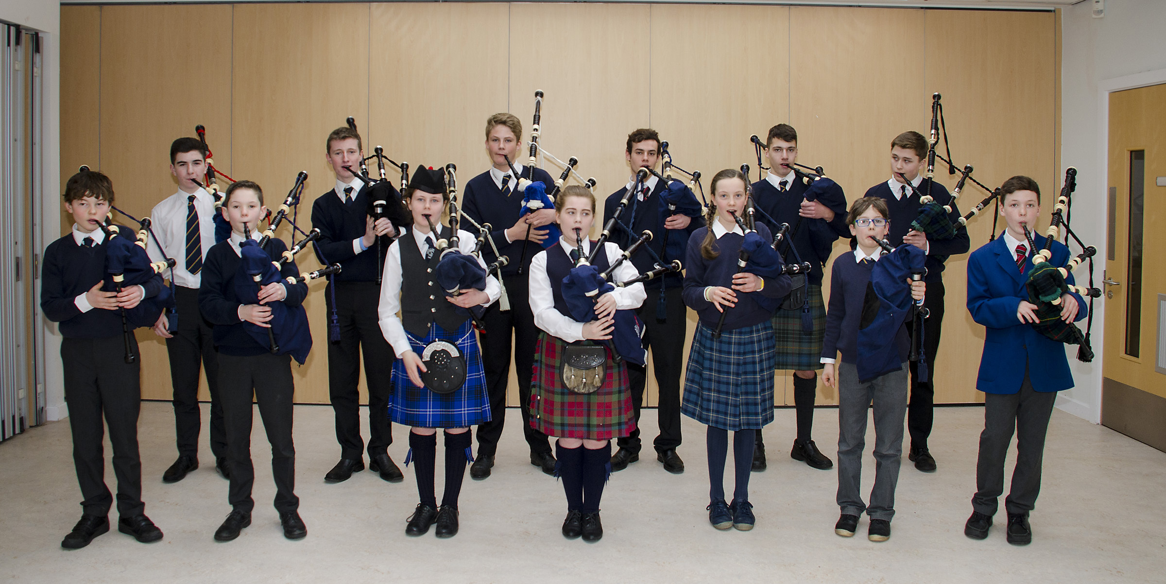 Taking part in the bagpipe section youngsters from Perth Academy, Strathallan, Perth and District Pipe Band, Kinross and District Pipe Band, and Craigclowan School.