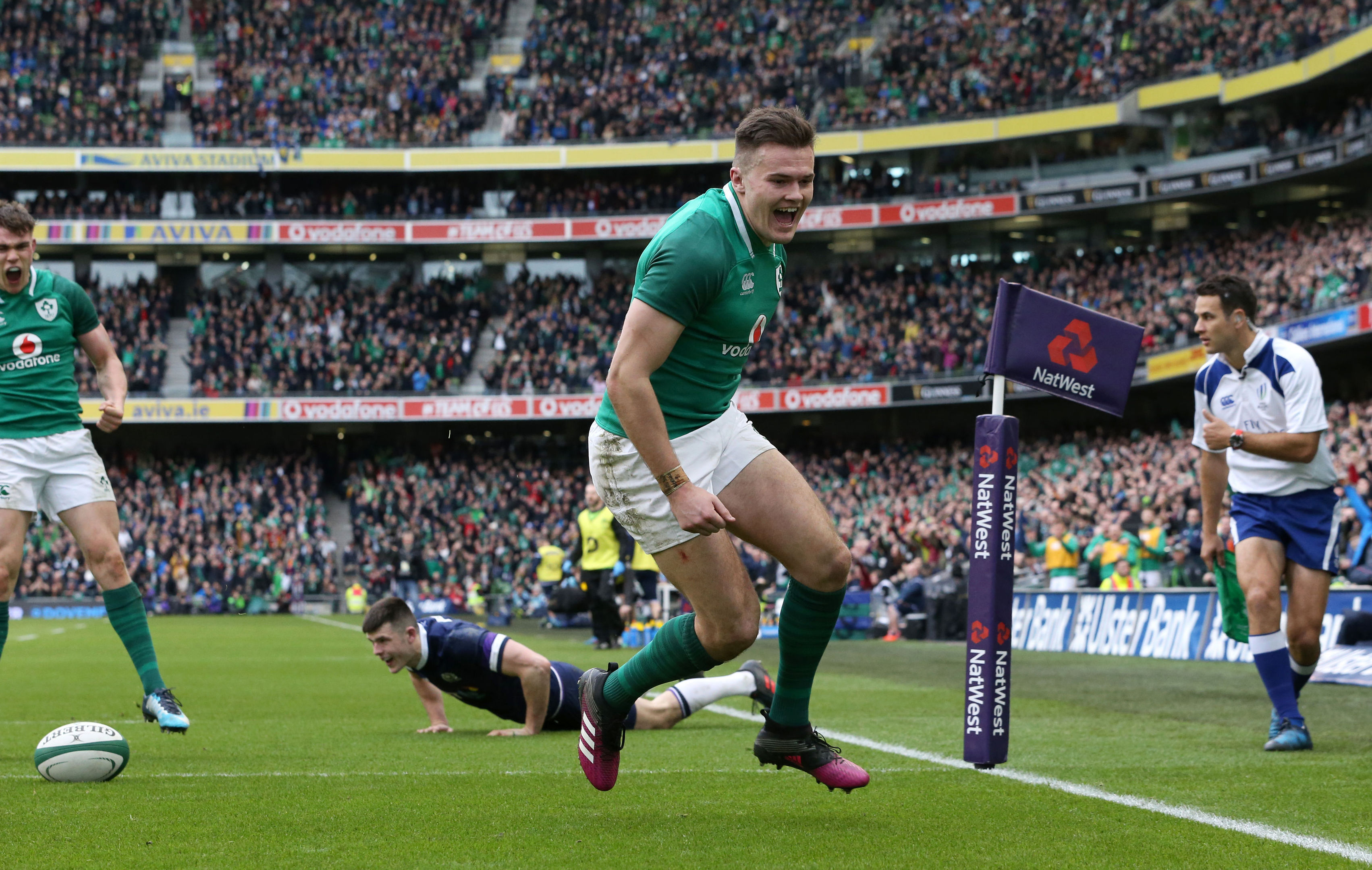 Ireland's Jacob Stockdale celebrates scoring his second try against Scotland in Dublin.