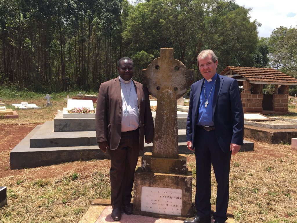 Rev Robert Mbugua and Right Rev Dr Russell Barr at the Watson's grave