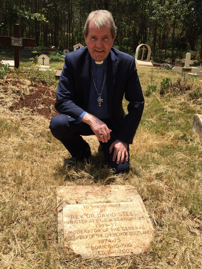 Right Rev Dr Russell Barr at the grave of Rev Dr David Steel, father of Liberal Democrat peer David Steel