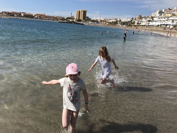 Robin's girls on the beach at Los Cristianos.