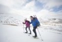 Gayle Ritchie and Paul Fettes snowshoeing on Carn an Tuirc.