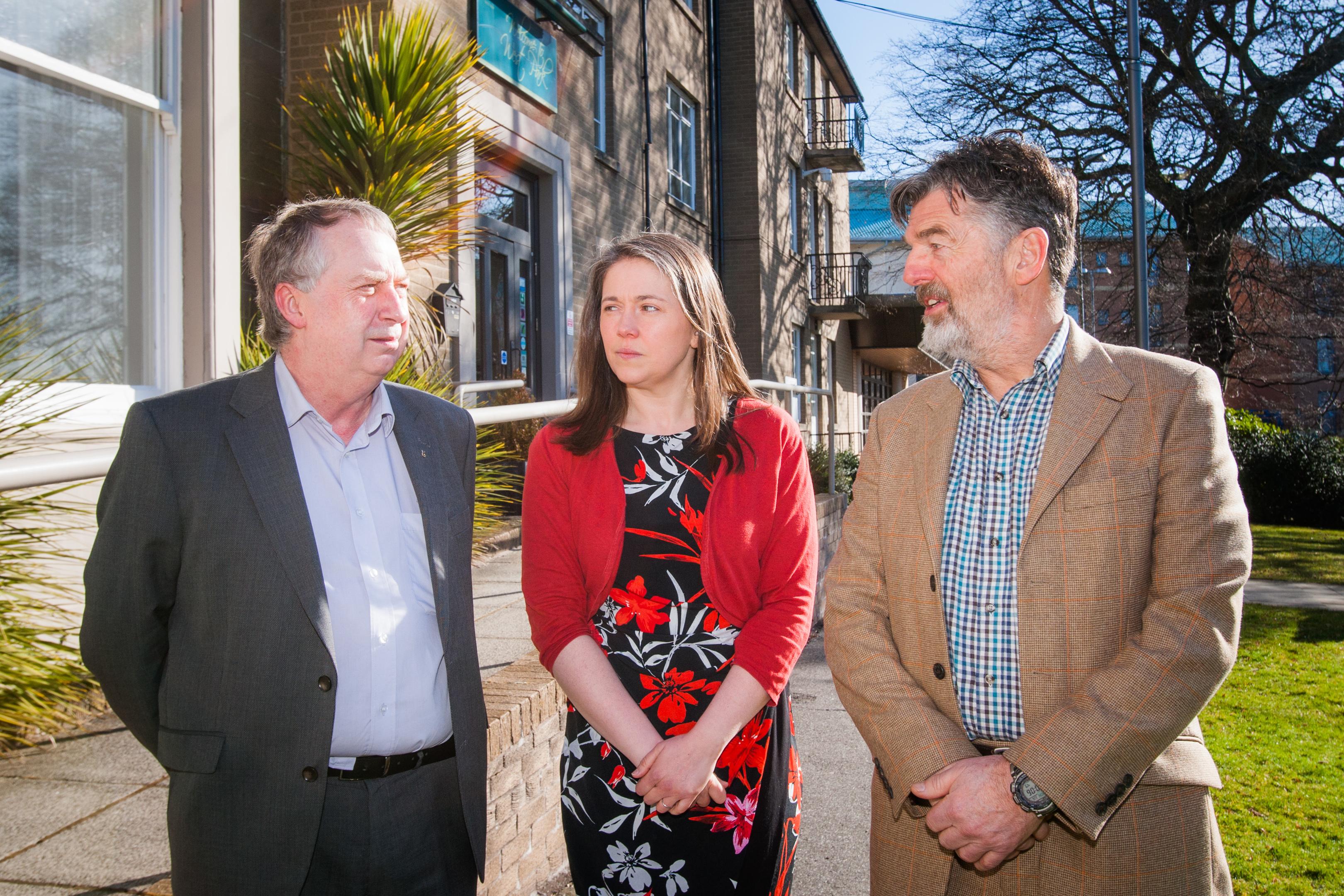 Councillor Ken Lynn, Aileen Campbell MSP and Dr Drew Walker (l-r)