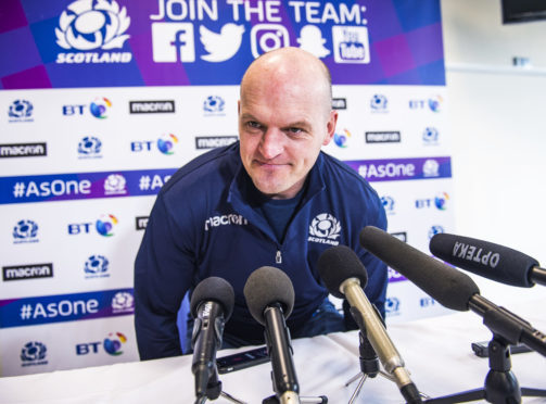 Gregor Townsend arrives at yesterday's team announcement at BT Murrayfield.